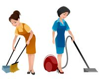 Two cleaning women. Vector illustration of two cleaning women in aprons royalty free illustration
