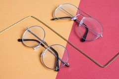 Two Clear Aviator Eyeglasses With Gray Steel Frame royalty free stock photos