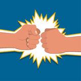 Two clenched fists. In air punching. Vector illustration with two hands. Concept of aggression and violence. War conflict Royalty Free Stock Photos