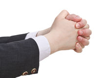 Two clenched hands - hand gesture Royalty Free Stock Photography