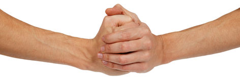 Two clenched male hands Stock Photo