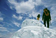 Two climber on peak royalty free stock photos