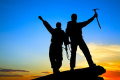 Two climbers stock photography