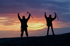 Two climbers connected by rope Stock Photography