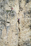 Two climbers on mountain wall Royalty Free Stock Photo