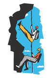 Two climbers on a rope cartoon. Stock Photos