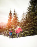 Two climbers in the winter. Royalty Free Stock Images