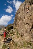 Two climbing girls. Restonica Corsica Royalty Free Stock Photos
