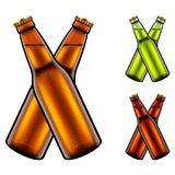 Two clinking beer bottles 3d realistic vector set Royalty Free Stock Image