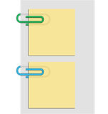 Two clips and post it Stock Photography