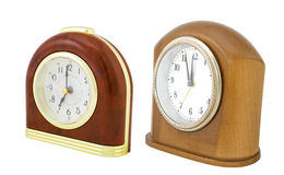 Two clock isolated on a white background Royalty Free Stock Images