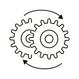 Two clockwise cogwheels  vector icon royalty free illustration