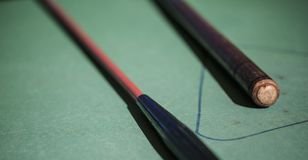 Close up billiard sticks royalty free stock photography