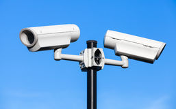 Two closed-circuit television cameras royalty free stock photography
