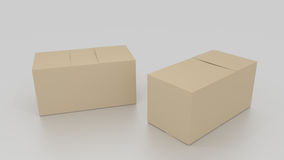 Two closed 3D empty brown cardboard box, ready to be send on whi Stock Photos