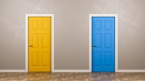 Two Closed Doors in Front in the Room vector illustration