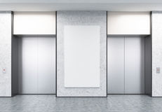 Two closed elevators in corridor with concrete walls and poster. Two closed elevators with buttons in corridor with concrete walls. Vertical poster of elevator Stock Images