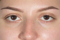 Two closed eyes perfect eye brows. Perfect Eyebrows Big Part Face. Photo of eyes, eyebrows after professional correction. care and review of the eyes, light royalty free stock photo