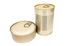 Two closed metallic tin Royalty Free Stock Photos