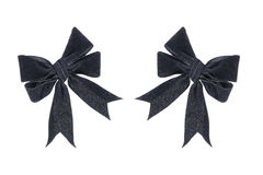 two cloth black bows isolated on white Royalty Free Stock Photography