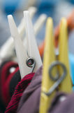 Two clothes pegs Stock Photo