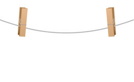 Two Clothespins On Clothesline Rope Royalty Free Stock Images