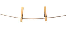 Two clothespins on rope Stock Image