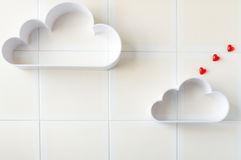 Two clouds with heart Stock Image