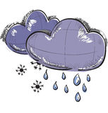 Two clouds with snowflakes and rain drops Royalty Free Stock Photos