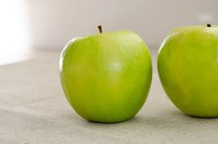 Two Clouse-up macro green apple Stock Photos