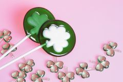 Two clover candy bars and shamrocks Royalty Free Stock Photo