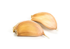 Two cloves of garlic. Royalty Free Stock Photos