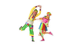 Two  clowns. Two smiling clowns  isolated over a white background Royalty Free Stock Photo