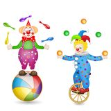 Two clowns with ball and unicycle. Two clowns with ball, unicycle and entertainment tools on white background Stock Photography
