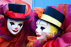 Two clowns - close up Stock Photography
