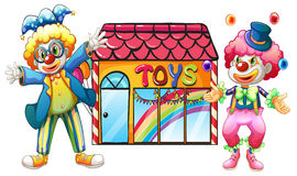 Two clowns in front of a toy store. Illustration of two clowns in front of a toy store on a white background Stock Photo