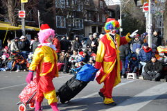 Two clowns before the Santa Claus Parade stock photo