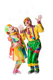 Two  clowns  in the soap bubbles Royalty Free Stock Photo