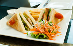 Two club sandwich with  garnish Stock Photography
