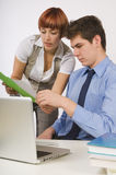 Two Co-Workers Problem Solving Stock Photo