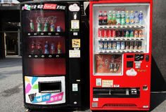 Two Coca cola vending machine. Two soft drink vending machine in Taipei of Taiwan Royalty Free Stock Photo