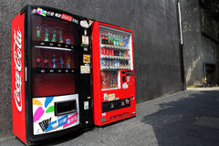 Two Coca cola vending machine. Two soft drink vending machine in Taipei of Taiwan Royalty Free Stock Photography