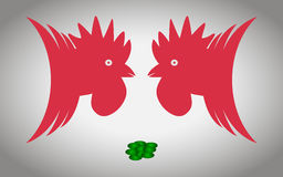 Two cocks. Two roosters ready to fight for handful of grain Stock Images
