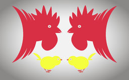 Two cocks and two chickens. Two roosters and two chickens  ready to fight Royalty Free Stock Photography