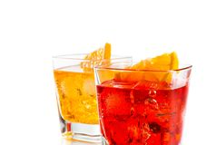 Two cocktail with orange slice isolated on white background Royalty Free Stock Photos