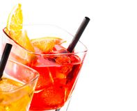 Two cocktail with orange slice on top isolated on white background Stock Image