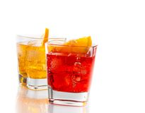 Two cocktail with orange slice  on white background Royalty Free Stock Photos