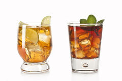 Two cocktails. Two refreshing alcoholic and non-alcoholic cocktails Stock Image