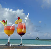 Two cocktails. On the beach Royalty Free Stock Photography