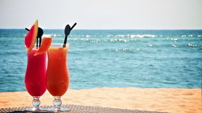 Two cocktails on the beach Stock Photo